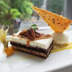 Lawry's Sea Salt Caramel Pecan Mousse Cake with Häagen-Dazs Vanilla Bean Ice-cream