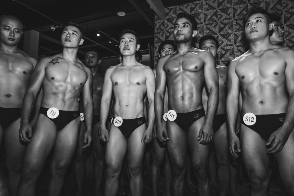 Mr World Singapore - finalists lining up for shots