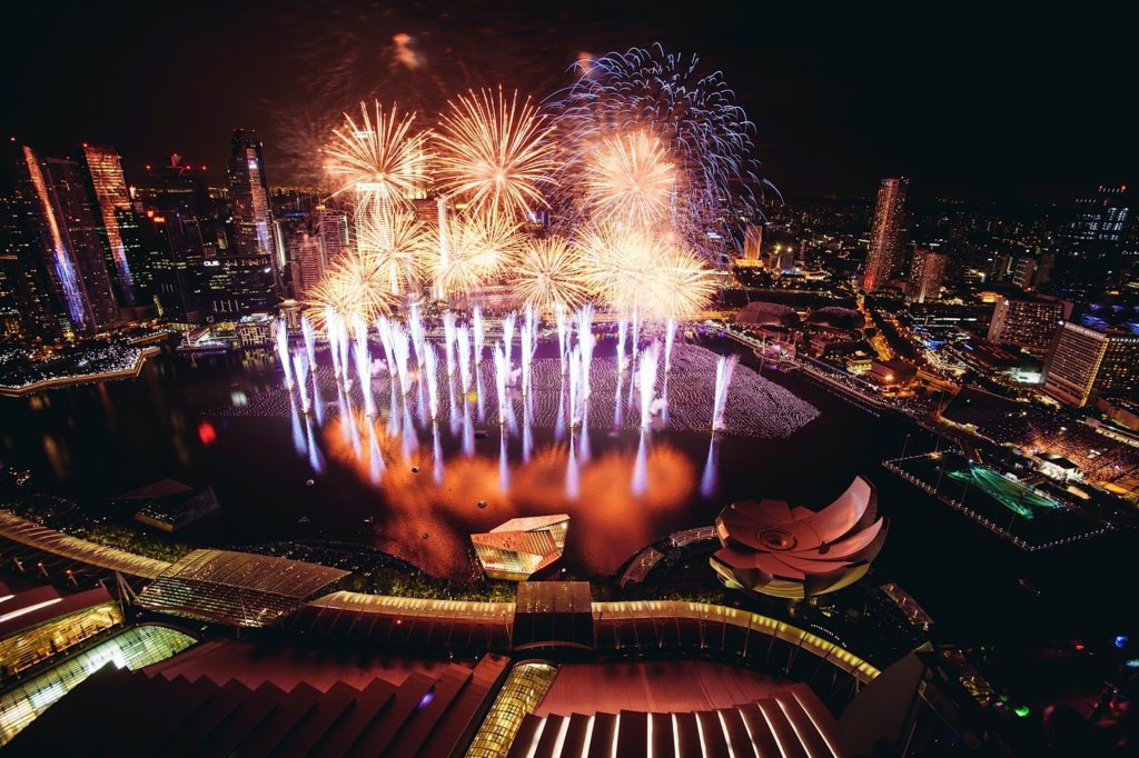 NDP fireworks - fireworks view from CE LA VI, MBS