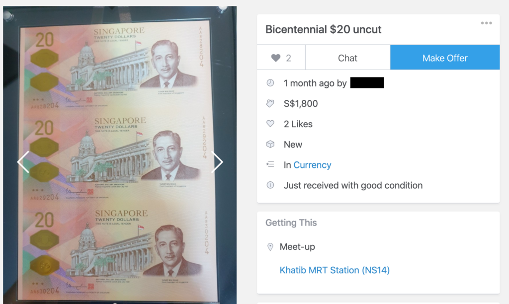 Bicentennial 2019: MAS $20 Notes on Carousell