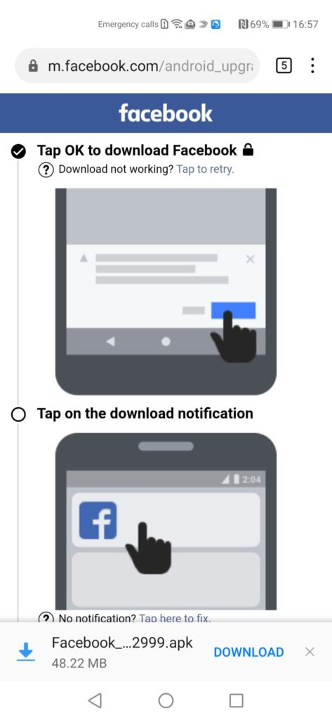 Huawei AppGallery Guide Facebook Install